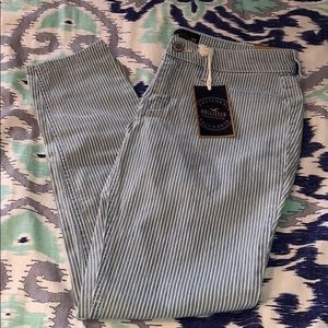 NWT Hollister Blue and White Stripped Jeans